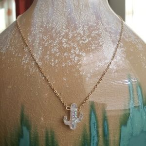 Dainty Gold & Opal Cactus Necklace